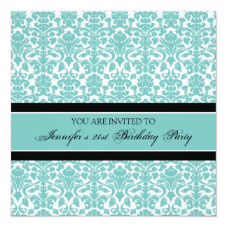 Teal Damask 21st Birthday Party Invitations