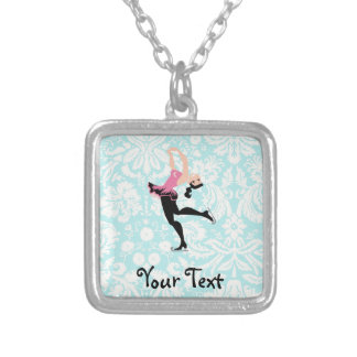 Teal Damask Pattern Ice Skating Square Pendant Necklace