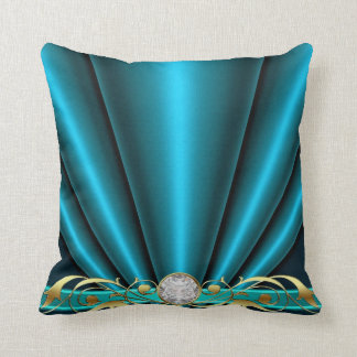 Teal Jeweled Scroll Pillow Cushions