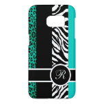 Teal Leopard and Zebra Animal Print Monogram