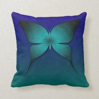 Teal Ombre Butterfly Pillow Cushions