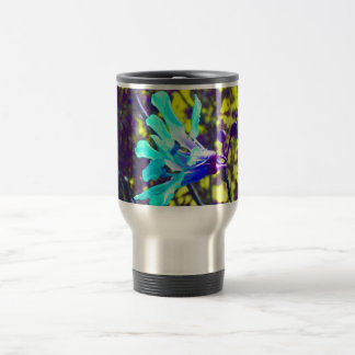 teal orchid purple yellow sky cool flower stainless steel travel mug