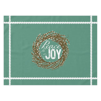 Teal Peace Joy Pussy Willow Wreath Tablecloth