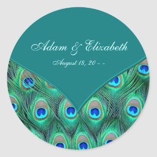 Teal Peacock Elegant Peacock Wedding Favor Label Round Sticker