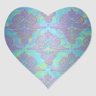 Teal Purple Blue Pink Floral Damask Heart Sticker