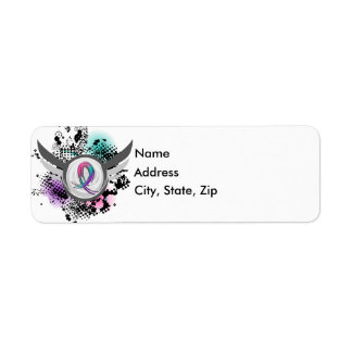 Teal Purple Pink Ribbon And Wings Thyroid Cancer Return Address Label