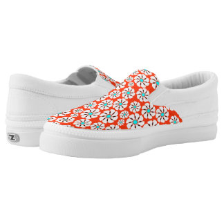 Teal Red Flowers Printed Shoes