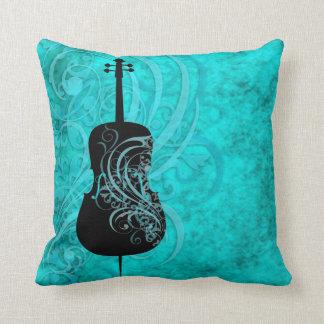 Teal Rococo Cello Pillow Throw Cushions
