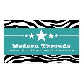 Teal Sassy Star Zebra Print Business Card