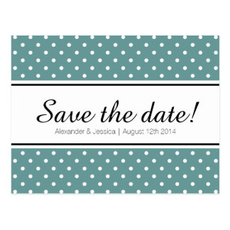 Teal save the date postcards   white polka dots