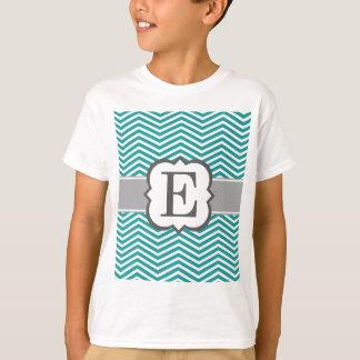 Teal White Monogram Letter E Chevron Shirt
