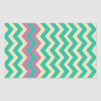 Teal Zigzags With Purple Border Rectangular Sticker
