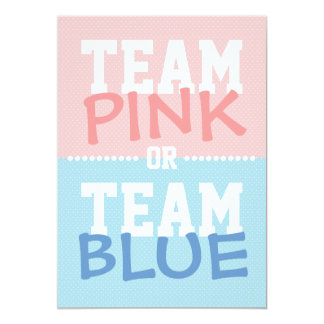 Team Pink or Team Blue Baby Gender Reveal Party 13 Cm X 18 Cm Invitation Card