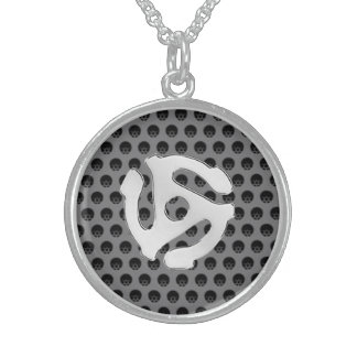 Techno Retro Vintage Chrome 45 spacer DJ Print Round Pendant Necklace
