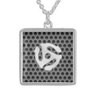 Techno Retro Vintage Chrome 45 spacer DJ Print Square Pendant Necklace