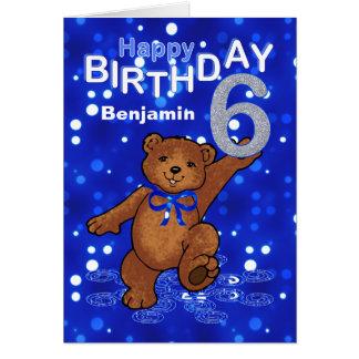 Teddy Bear 6th Birthday for Boy Greeting Card