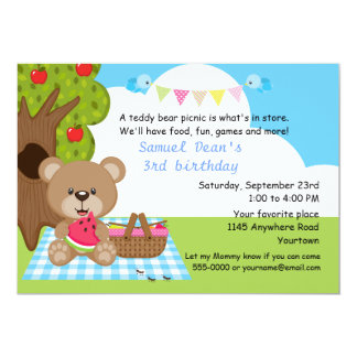 Teddy Bear Boys Picnic Birthday 13 Cm X 18 Cm Invitation Card