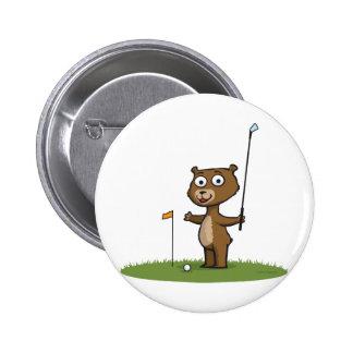 Teddy Bear Golf 6 Cm Round Badge
