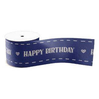 Teddy Bear Picnic Happy Birthday -Blue Grosgrain Ribbon