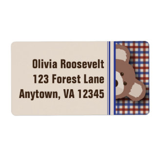Teddy Bear Picnic Label- Red & Blue Gingham Shipping Label