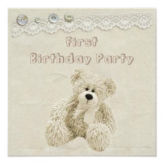 Teddy Bear Vintage Lace 1st Birthday Party 13 Cm X 13 Cm Square Invitation Card