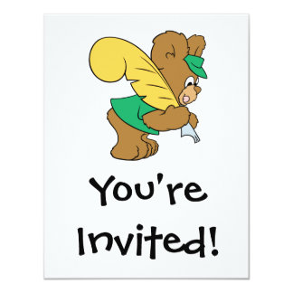 teddy bear with quill pen writer 11 cm x 14 cm invitation card
