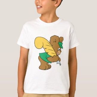 teddy bear with quill pen writer tee shirts