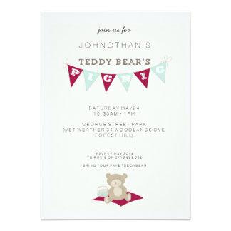 Teddy Bear's Picnic - Red & Blue 13 Cm X 18 Cm Invitation Card