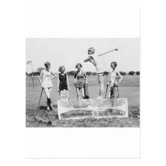 Teeing Off On ICE Womens Golf in Bathing Suits! Postcard