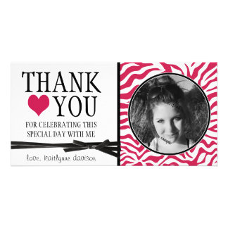 Teen Hot Pink Zebra Thank You with Photo Personalized Photo Card