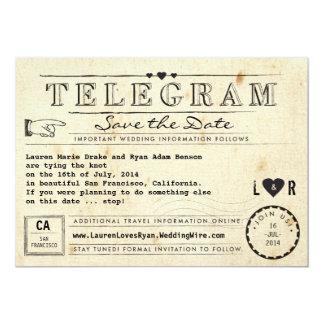 Telegram with Hearts Vintage Travel Save the Date 13 Cm X 18 Cm Invitation Card