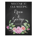 Template floral rose welcome wedding sign Print