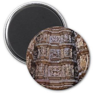Temple of Khajuraho, India 6 Cm Round Magnet
