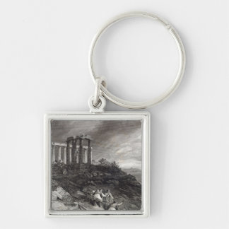 Temple of Minerva Sunium, engraved by J. Saddler Silver-Colored Square Key Ring
