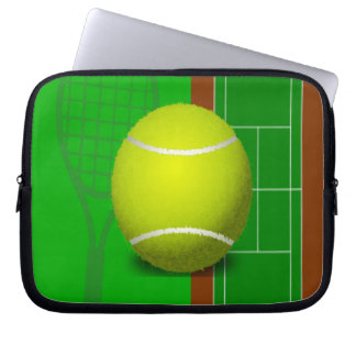 Tennis Court and Racquets Laptop Computer Sleeves
