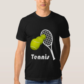 Tennis Design American Apparel Black Poly-Cotton Tee Shirts