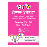 Tennis party invitations for girl's Birthday