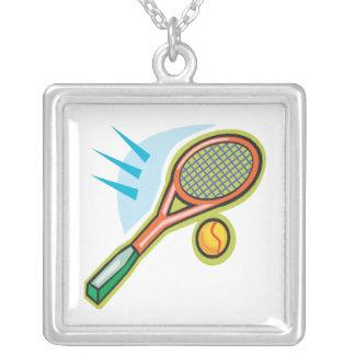 Tennis Racquet Square Pendant Necklace