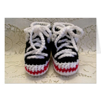 Tennis Shoes Baby Booties Greeting Card