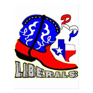 Texas Cowboy Boot Crushing Liberals Postcard
