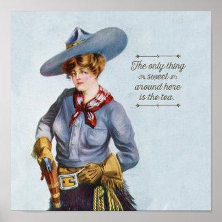 Texas Sweet Tea Vintage Cowgirl Art Poster