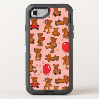 Texture With Teddy Bears, Hearts OtterBox Defender iPhone 7 Case