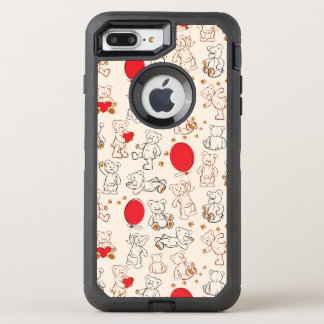 Texture With Teddy Bears OtterBox Defender iPhone 7 Plus Case