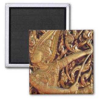Thai Buddhist Temple Detail Square Magnet
