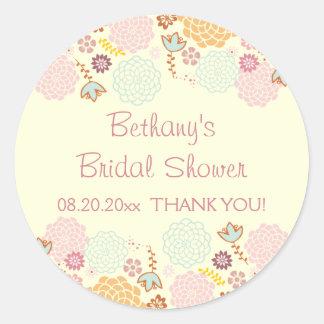 Thank You Bridal Shower Fancy Modern Floral Round Sticker