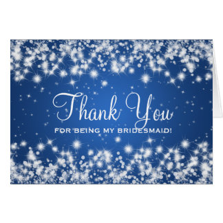 Thank You Bridesmaid Winter Sparkle Blue Greeting Card