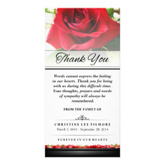 Thank You Funeral Red Rose - Words Cannot Express Picture Card