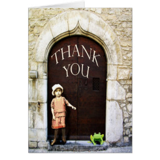 Thank you, little girl and green frog. greeting card