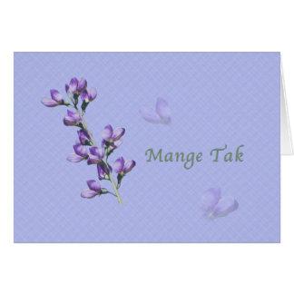 Thank You, Mange Tak, Danish, Purple Sweet Peas Greeting Card