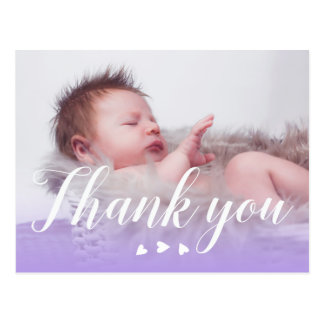 Thank you | New Baby | Purple & Hearts Postcard